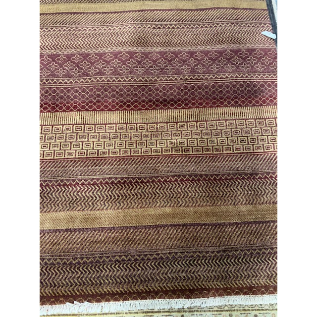 Reddish Brown Contemporary Grass Pattern Carpet - 4′ × 6′ For Sale In Boston - Image 6 of 6