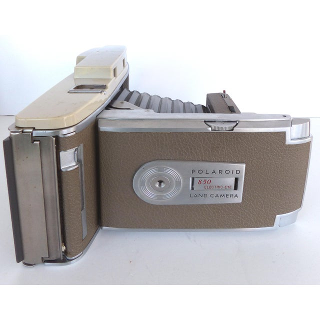 Mid-Century Polaroid Camera in Original Leather Case For Sale - Image 5 of 9