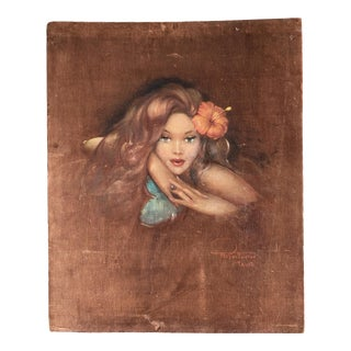 1940s Portrait of a Polynesian Woman Oil Painting on Velvet by Roger Fowler For Sale
