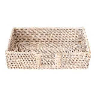 Artifacts Rattan Guest Towel/Napkin Holder With Cutout - White Wash For Sale