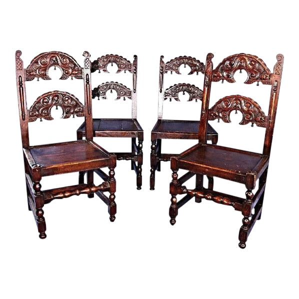 Colonial Revival Dining Chairs - Set of 4 For Sale