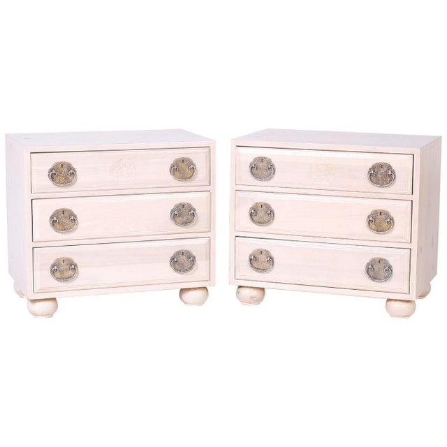 Midcentury Pickled Pine Chests or Nightstands - A Pair For Sale - Image 10 of 10