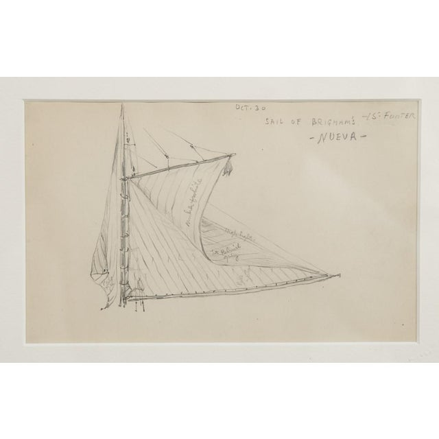 "Reynolds Beal ""Sail Boats and Fishing Boats"" Pencil Sketches - a Pair For Sale - Image 9 of 13"