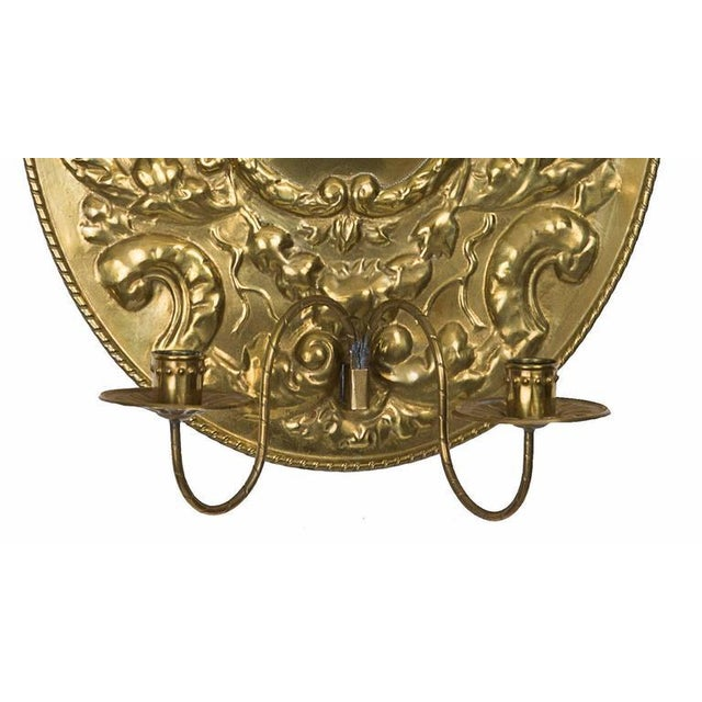 Pair of Dutch Baroque Style Brass Sconces For Sale - Image 4 of 5