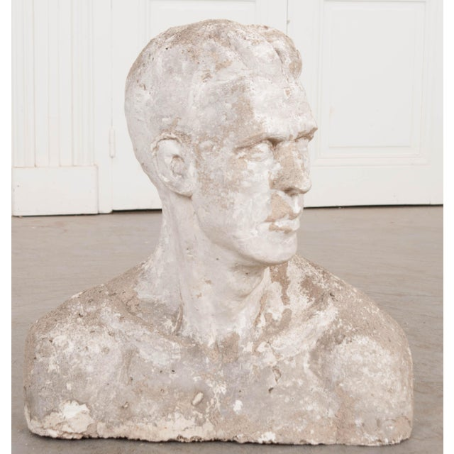 This fine plaster bust of a strikingly handsome man is from England, c.1900. He could be placed on guard atop a console in...