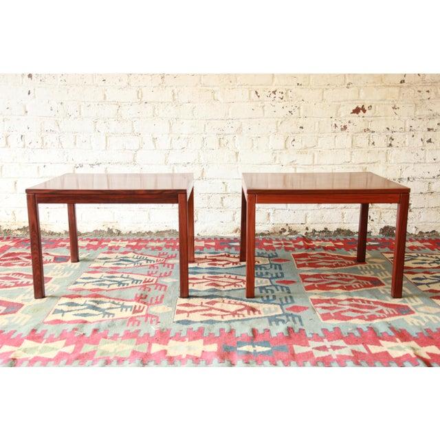 Vejle Stole & Møbelfabrik Henning Kjærnulf for Vejle Stole Danish Modern Rosewood Side Tables - a Pair For Sale - Image 4 of 7
