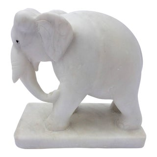 Hand-Carved White Elephant Marble Sculpture Jaipur, Rajasthan India For Sale