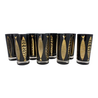Mid-Century Gold Fish Highballs - a Set of 8 For Sale