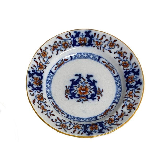 Antique Imari plates by Thomas Minton & Sons, Stoke-on-Trent, England. Classic red, white and blue with mustard color...
