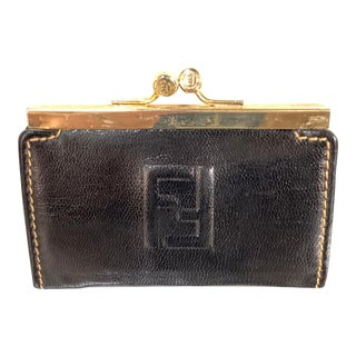 Vintage Black LeatherFendi Change Purse For Sale
