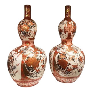 Late 19th Century Japanese Double Gourd Kutani Vases- a Pair For Sale