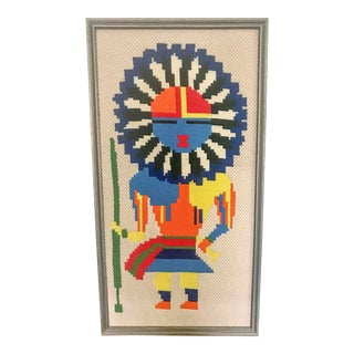 Mid Century Tribal Needle Point For Sale