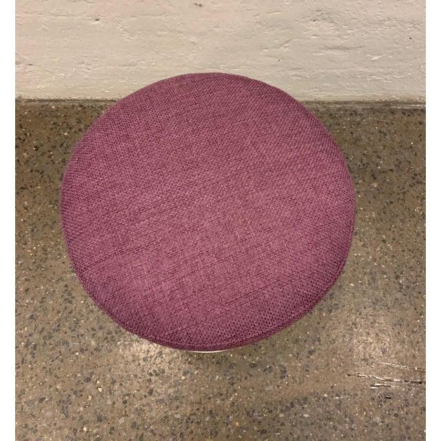 Eero Saarinen for Knoll Tulip Stool. Cast aluminum base with purple upholstered cushioned seat.