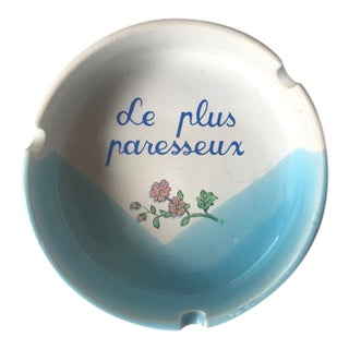 Mid 20th Century Blue French Ash Tray For Sale