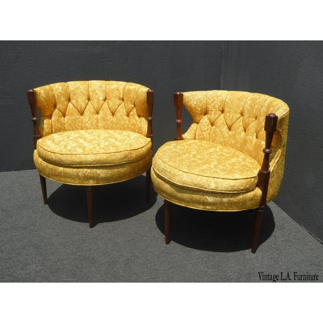 Pair of Mid Century Modern Oval Gold Club Chairs Stacey House Atomic Era Gorgeous Chairs in Great Vintage Condition. Solid...