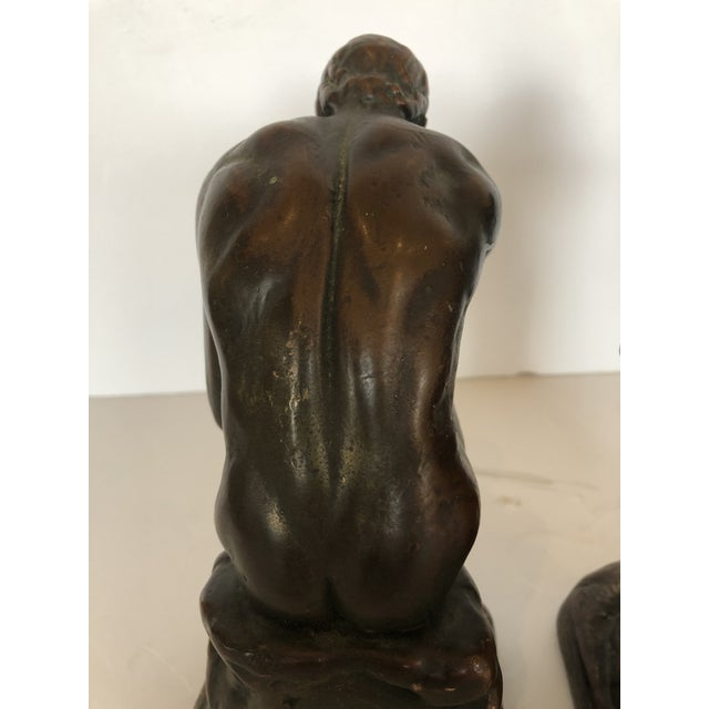 Bronze Clad Male Nude Bookends For Sale - Image 9 of 13