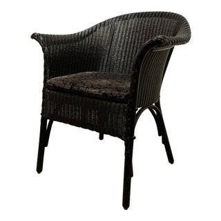 Modern Flared Arm Black Woven Wicker Chair For Sale