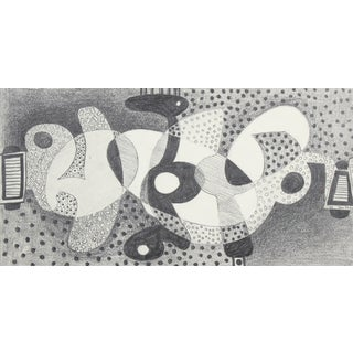 Jane Mitchell Optical Art Abstract in Graphite, 1974 For Sale