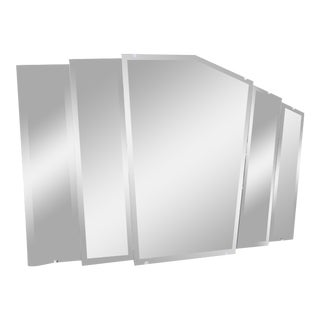 Vintage Art Deco 5 Panel Beveled Step Mirror For Sale