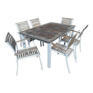Vintage Weathered Travira Aluminum and Teak Outdoor Dining-Set of 7 For Sale