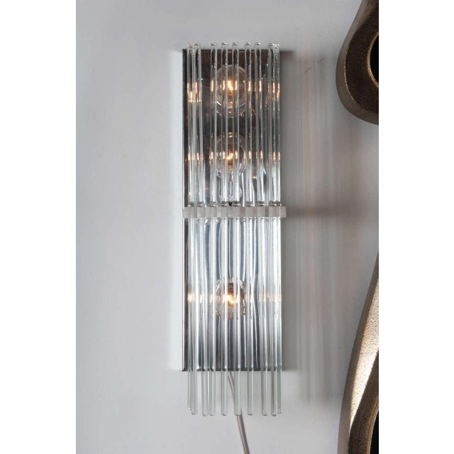 Mid-Century Modern Pair of Crystal Rod Sconces by Lightolier For Sale - Image 3 of 8