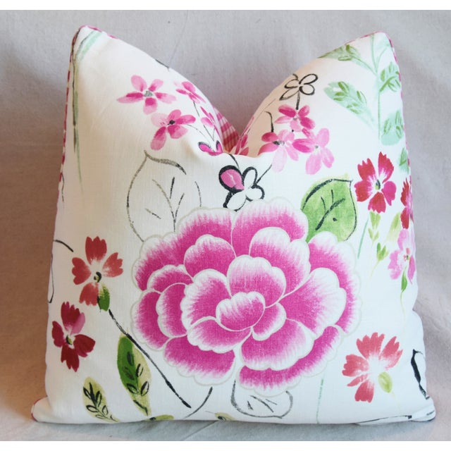 "Early 21st Century French Manuel Canovas Floral Linen Feather/Down Pillows 20"" Square - Pair For Sale - Image 5 of 13"