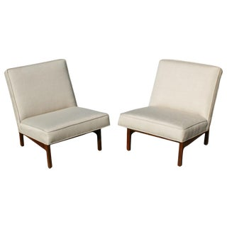Vintage Jens Risom Walnut Armless Chairs - A Pair