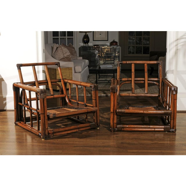 Mid-Century Modern A Warm and Mellow Restored Pair of Cube Loungers by Ficks Reed, Circa 1970 For Sale - Image 3 of 11