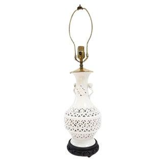 Vintage Blanc De Chine Urn Form Lamp