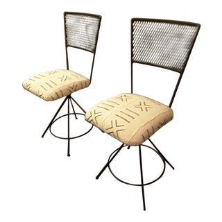 Modern Mudcloth Upholstered Iron Cafe Chairs - a Pair For Sale