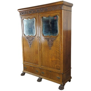 1900s Antique Victorian Oak Armoire Linen Cabinet Mirrored Closet Paw Feet Empire For Sale