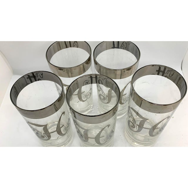 Mid Century Dorothy Thorpe Monogram H Highball Set of 5. Cocktails Anyone? Only if your name starts with an H!!! Platinum...