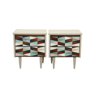 1950s Mid-Century Modern Mission Avenue Studio Geometric Night Stands - a Pair For Sale