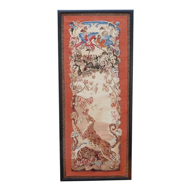 Vintage Framed Stark Romanian Aubusson Tapestry Rug With Leopards For Sale