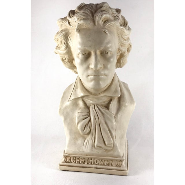 Vintage Beethoven bust in an ivory/white finish stamped by Alexander Backer Company at the back. Great details in the face...