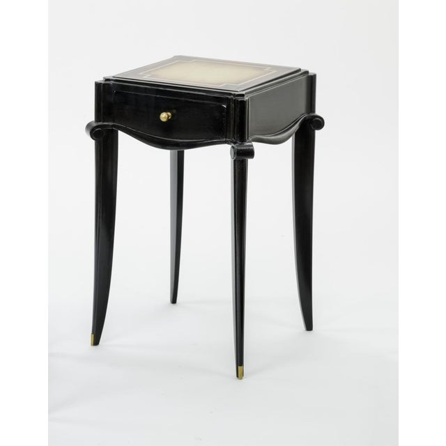 Jean Pascaud Black lacquered and Gold Sabot bedside or Side Table.