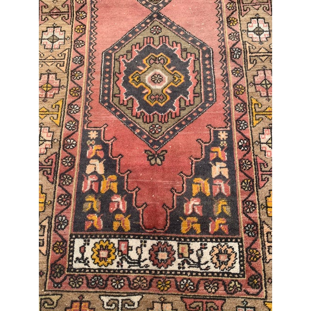 Vintage Persian area rug, roughly 4' x 8' (exact measurements noted below), in complimentary hues of olive green and...