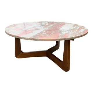 1950s Mid-Century Modern Pink Marble Coffee Table With Walnut Base For Sale