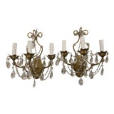 Image of Antique Gilded Metal and Crystal 3 Arm Sconces, C1940 - a Pair For Sale