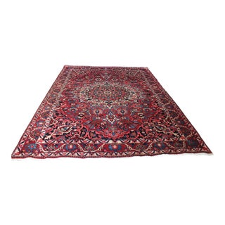 1970s Persian Bakhtiari Hand-Knotted Rug Vintage- 7′ × 10′ For Sale