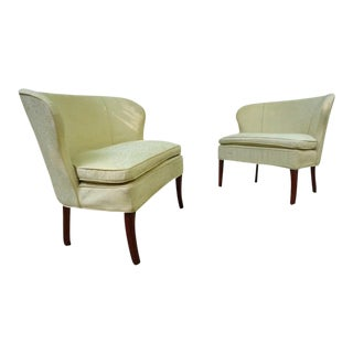 Mid Century Winged Chair and a Half ~ a Pair For Sale