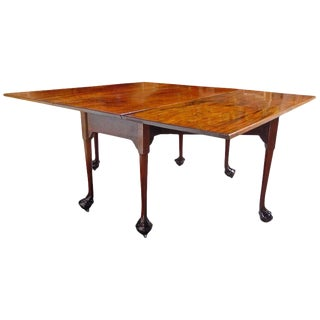 English Chippendale Reticulated Ball and Claw Foot Drop-Leaf Table