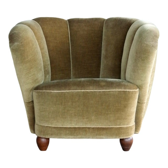 Danish 1940s Viggo Boesen Style Club Chair in Beech and Mohair For Sale
