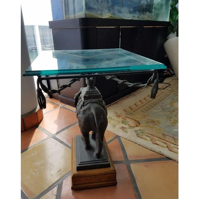 Animal Skin 1970's Vintage Maitland Smith Bronze Leather & Glass Elephant Table For Sale - Image 7 of 13