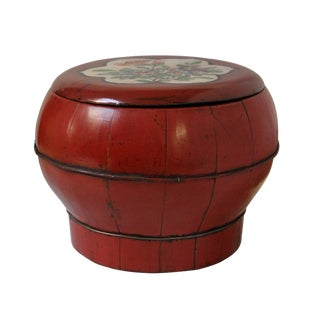 Restored Antique Chinese Red Round Wood Lidded Container Bucket