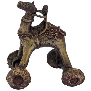 Antique Asian Bronze Toy Camel on Wheels For Sale