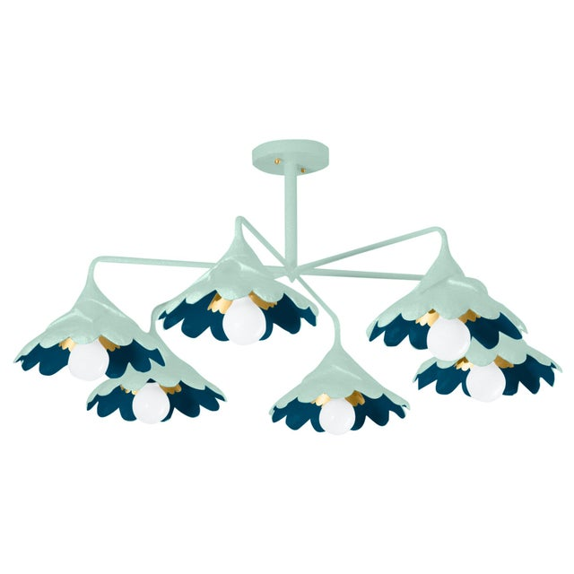 Please note this is a made to order, non-refundable product that ships within 4-6 weeks. This six arm semi flush mount...