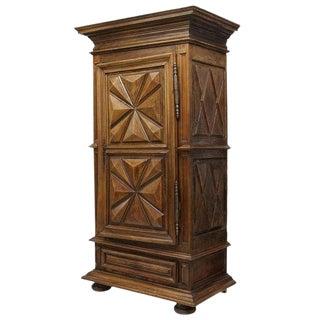 French Provincial Bonnetiere With a Stepped Crown Over Single Door, 18th Century For Sale