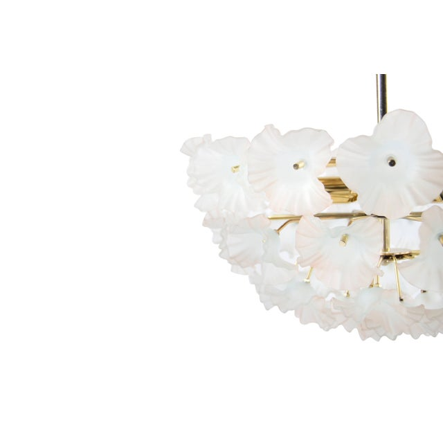 "Brass Murano Glass and Brass ""Hibiscus"" Chandelier, Italy, 1950s For Sale - Image 7 of 10"