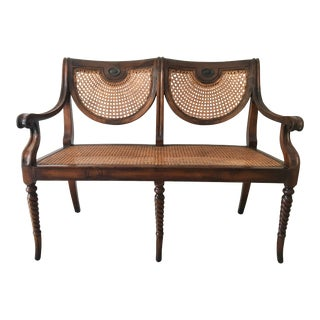 Theodore Alexander Acacia and Cane Bench For Sale